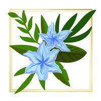 Lichtblauwe ingelijste bloem