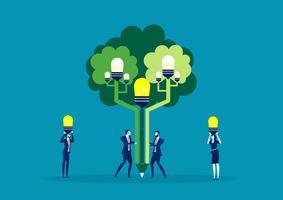 business team plant ideeën op boom van ideeën voor groene wereld vector