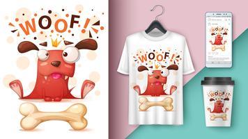 Crazy dog - mockup voor uw idee. vector
