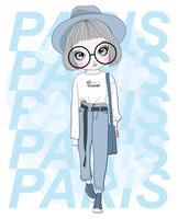 Hand getekend schattig meisje draagt een grote bril met Parijs typografie