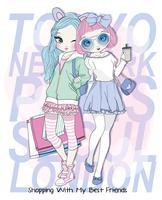Hand getekend schattig meisje beste vrienden winkelen met typografie op achtergrond
