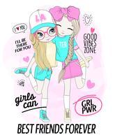Hand getekend schattig meisje beste vrienden met doodles en typografie