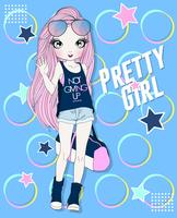 Hand getekend schattig meisje met gymtas met doodle achtergrond