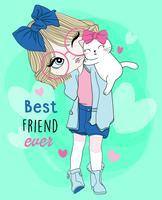 Hand getekend schattig meisje draagt een bril met beste vriend kat