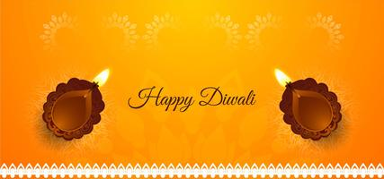 Gelukkige Diwali heldere banner met diya
