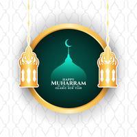 Gelukkig Muharran met lantaarn en moskee