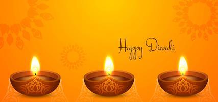 helder Happy Diwali-ontwerp met diya