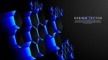 Zeshoek blauwe abstracte achtergrond van futuristische hi-tech