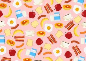 Naadloos patroon van de vastgestelde achtergrond van het ontbijtmenu
