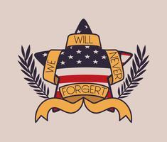ster met krans en usa vlag van herdenkingsdag embleem vector