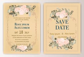 bruiloft uitnodigingskaart met kleurrijke bloemen en bladeren.