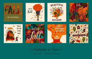 Set van schattige herfst kaarten