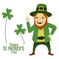Blij gezicht St Patricks dag stripfiguur mascotte vector
