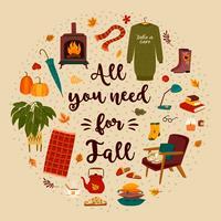 Herfst met huiselijke schattige dingen kaart