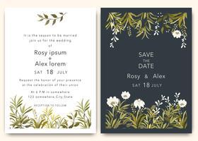 Trouwkaarten bewaren het datumkaartontwerp met elegante tuinanemoon.