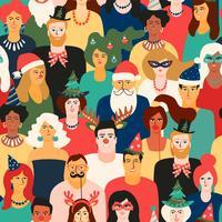 Kerstmis en gelukkig Nieuwjaar naadloos patroon met mensen in Carnaval-kostuums.