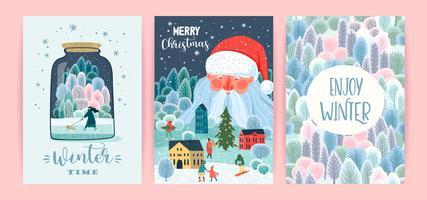 Set van Kerstmis en gelukkig Nieuwjaar kaarten vector