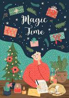 Kerstmis en gelukkig Nieuwjaar Magic Time Card vector