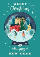 Kerstmis en gelukkig Nieuwjaar illustratie vector
