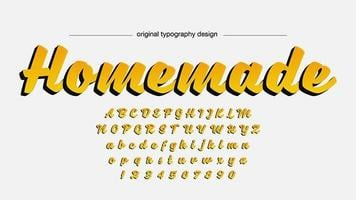 Gele handgeschreven script typografie