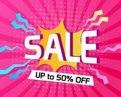 Abstracte roze halftone achtergrond met verkooptitel