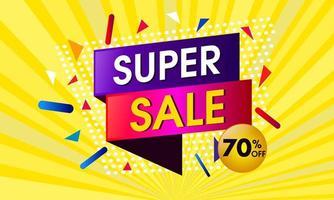 Abstract super verkoopontwerp met gele zonnestraalachtergrond