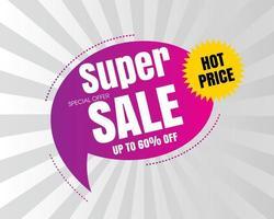 Super verkoopachtergrond met toespraakbel