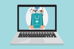 Online apotheek arts met medicijnen zak in laptop vector