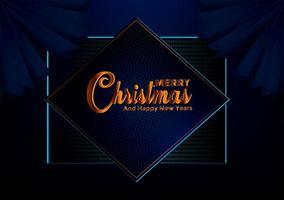 Kerstmis blauwe donkere achtergrond met rand gemaakt van knipsel gouden folie sterren en zilveren sneeuwvlokken