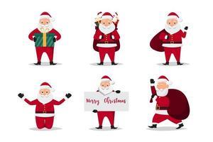 Canta Claus-personages in verschillende emoties vector