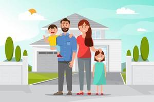 Gelukkige familie voor het huis