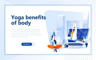 Yoga voordelen van body flat webpagina ontwerp vector