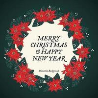 Prettige kerstdagen en gelukkig Nieuwjaar poinsettia krans