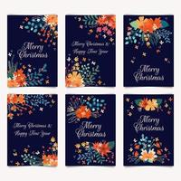 Prettige kerstdagen en gelukkig nieuwjaarskaarten met bloemenboeketten