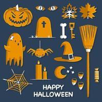 Oranje Halloween-elementen vector