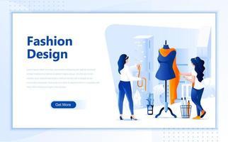 Fashion design platte webpagina-ontwerp