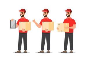 set van levering mannen met doos vector