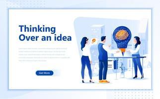 Denken over een idee plat webpaginaontwerp vector