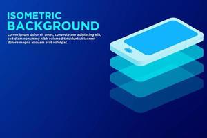 Isometrische blauwe slimme telefoonachtergrond vector