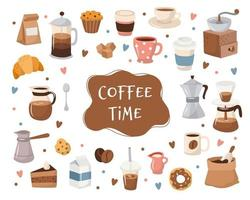 Koffiecollectie, verschillende koffie-elementen met letters. vector