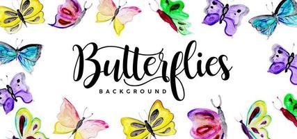 Mooie aquarel vlinders achtergrond vector