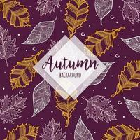 Mooie herfst kleurrijke hand getrokken bladeren achtergrond
