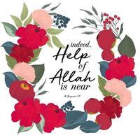 bloemen krans met islamitische citaat