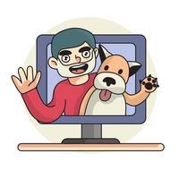 vlog illustratie man met hond huisdier kanaal vector
