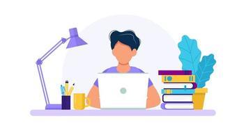 Man met laptop, studeren of werken concept vector