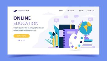 Online bestemmingspagina voor onderwijs met verschillende bestuderende items vector