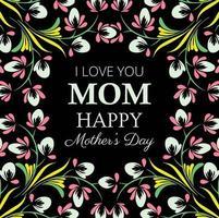 Gelukkig moederdag donker bloemen kaart ontwerp vector