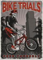Skelet fietsen in stad Poster vector