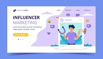 Influencer marketing bestemmingspagina met een megafoon van de mensenholding vector