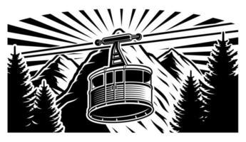 Vintage kabelbaan en bergen zwart en wit
